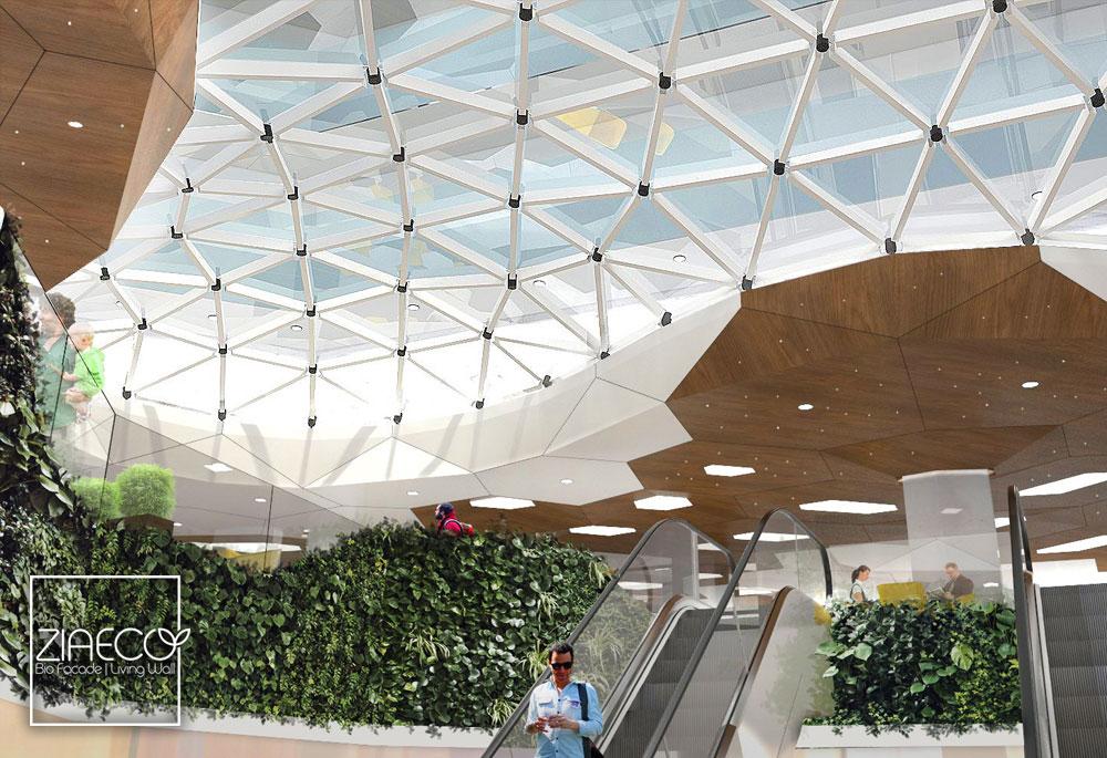 طراحی اولیه دیوار سبز یا گرین وال ضیااکو به روش هیدروپونیک در فضای داخلی یک مجتمع تجاری