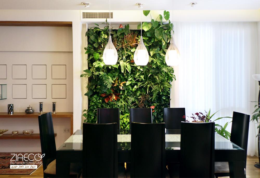 دیوار سبز هیدروپونیک ناهارخوری | طراحی و اجرا توسط ziaeco | گیرین وال