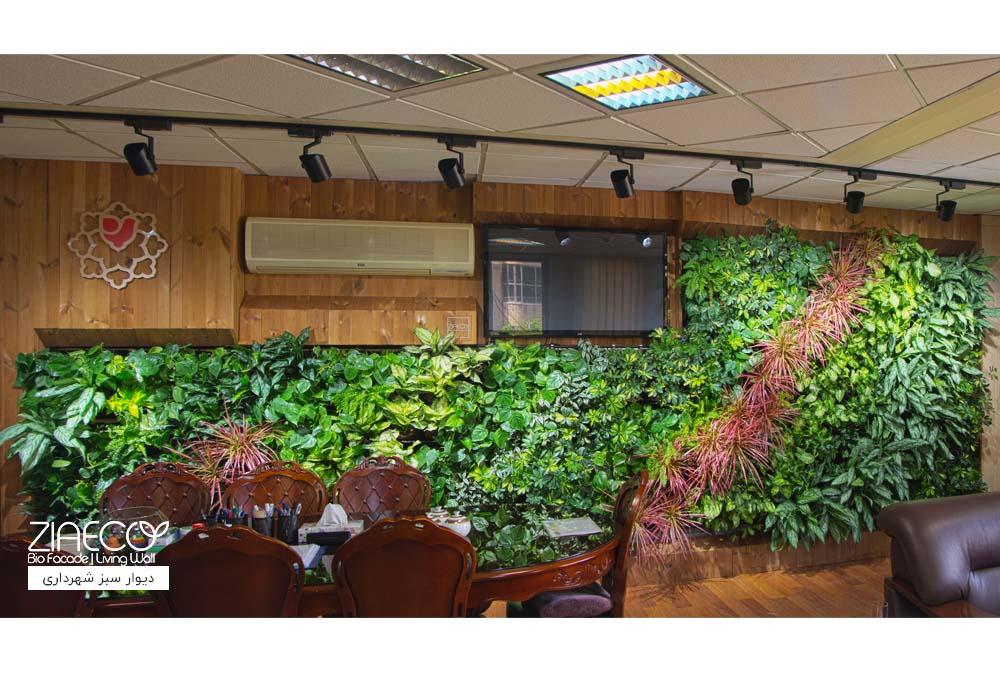 دیوار سبز یا گرین وال ضیااکو به روش گلدان دیواری در اتاق شهردار منطقه 17 واقع در خیابان ابوذر تهران