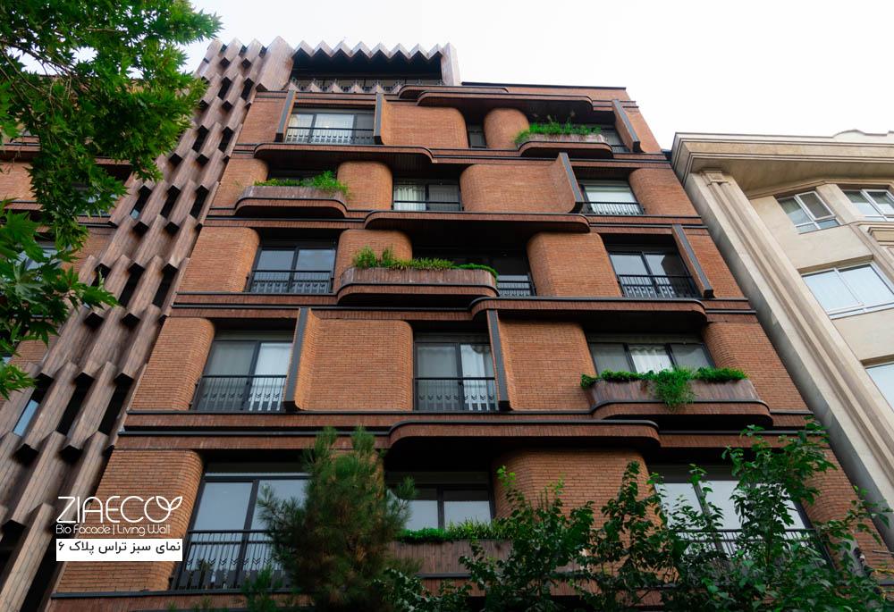 دیوار سبزنمای سبز مجتمع مسکونی پلاک 6 واقع در دروس تهران