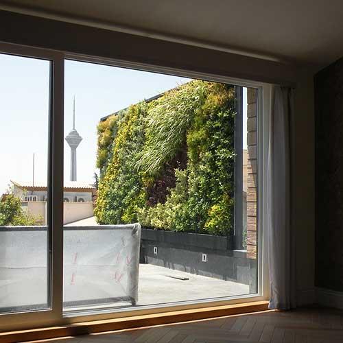 دیوار سبز یا گرین وال ضیااکو به روش هیدروپونیک در فضای بیرونی تراس یک خانه در ایران زمین تهران